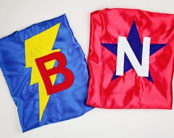 SUPER HERO Capes for TWINS - Sibling Super Hero Capes - Set of 2 Super Hero Capes - Family Super Hero Capes - Ships Quickly