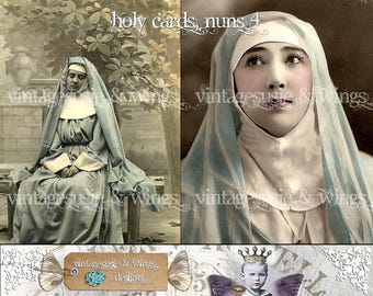 2 - Vintage Hand Tinted HOLY CARDS NUNS 4 Digital Download