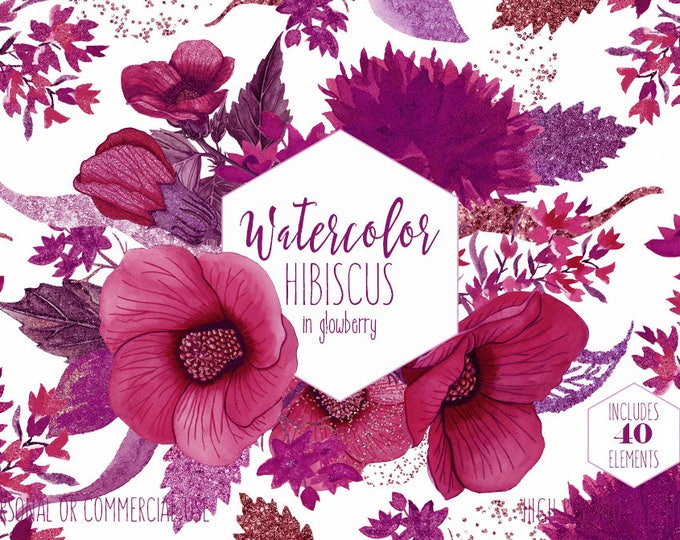 BURGUNDY WATERCOLOR FLORAL ClipArt Commercial Use Pink Tropical Clip Art Watercolor Island Summer Hibiscus Flower Wreath Invitation Graphics