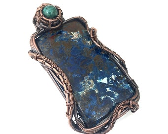 Shattuckite gemstone pendant with Quantum Quattro, wire wrapped in copper.  A Powerful Tool For Psychics, Mystics & Mediums