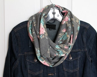 Infinity scarf, gray scarf woman, adult infinity scarf, flowers, creating Maridam creationmaridam