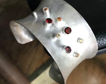 Wide silver cuff bracelet with garnets, sterling Cuff, open bangle bracelet, gift for her