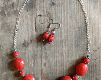 Red Coral Necklace and Earrings