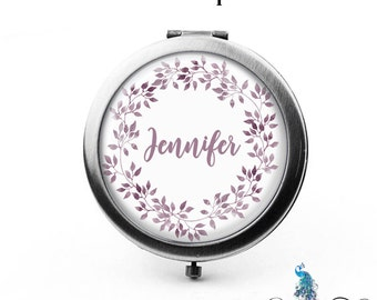 Compact Mirror Botanical Leaves Floral Wreath The Jennifer Bridesmaid Gifts Cosmetic Mirror Personalized Gifts Mom Birthdays Ladies Women