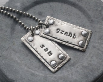 Personalized dog tags, rustic sterling dog tags, daddy necklace, mommy necklace, personalized kids names necklace, gift for dad, dad dog tag