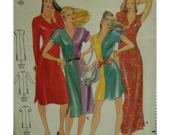Color Block Dress Pattern, V-Neck Pullover, Stretch Fabric,Short/Long Sleeves, Straight, Side Slits Butterick 3184 Size 6 Uncut or 12-14 Cut