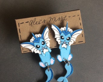 Vaporeon Clinging Earrings Pokemon Fake Gauges