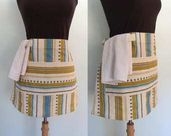 Blue and Lime Green Striped Waist Apron,  Blue Stripe Half Apron with Pocket and Towel Loop, Waitress Apron, Server Apron, Canvas Apron