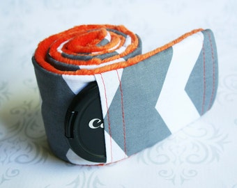 Camera Strap Cover with Lens Cap Pocket - Padded Minky - Gray Chevron with Orange Minky- MADE TO ORDER