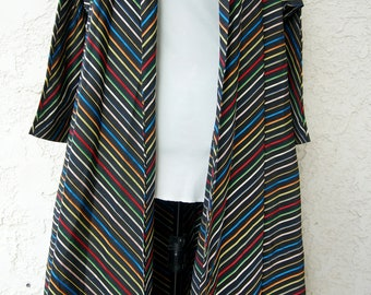 The Marianne - Fabulous 1950s Vintage MAXAN Striped Rainbow Swing Jacket Trapeze Coat - One Size Fits Most