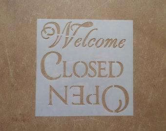 Mask Pochoir Plastique Mot Open Closed Welcome