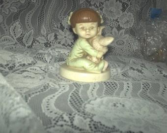 Twinton Girl with Bunny Figurine
