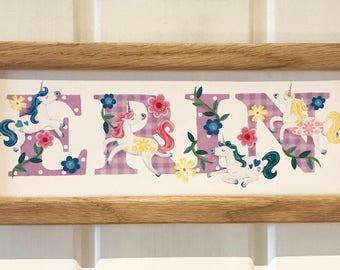 Unicorn Door Plaque - Children's / Kids / Plate / name sign / Illustration