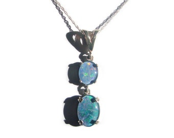 Opal triplet 2 stone sterling silver pendant with chain