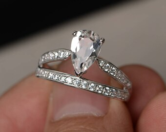 Pear Shaped Engagement Ring White Topaz Ring Silver Engagement Ring Crown Ring Gemstone Ring