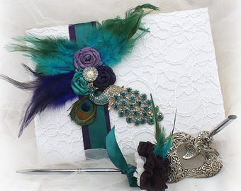 Peacock Wedding Guest Book Set White Teal Purple Lace Guestbook Peacock Signature Book Feather Guest Sign In Book