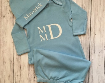 Baby Boy Coming Home Outfit // Personalized Newborn Outfit // Monogrammed Gown // Monogrammed Newborn // Monogram Boy Layette / Monogram Boy