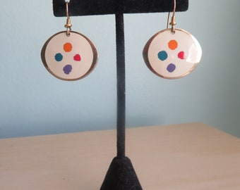 "Rare Vintage 1980s Signed Laurel Burch Enamel ""Palette"" Earrings"