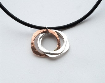 Copper Pendant Necklace, Silver and Copper PendantNecklace, Handmade Necklace, Necklace, Gift For Her, Hammered Silver Necklace