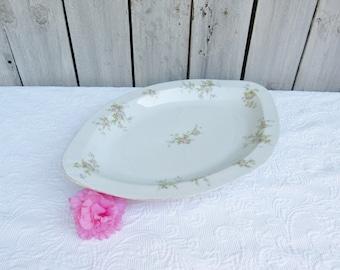 O & E G Royal Austria Pink Rose Platter, Large Fish Platter, Entertainment Platter, Sturdy Floral Main Course Platter, Gift for Hostess