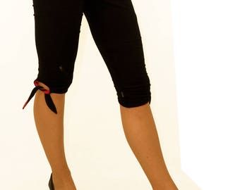 LASALINA-Yoga legging with loops. Worn in color or black da reversible from organic cotton
