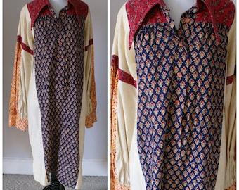 Vintage 1970's Hand Printed, Long Indian Cotton Dress, Boho, Hippy, Festival, Long Sleeved