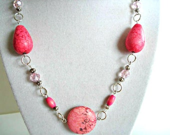 Hot Pink Chunky Gemstone Necklace, Hot Pink Crystal Beaded Necklace, Pink Jewelry, Wire Wrap,