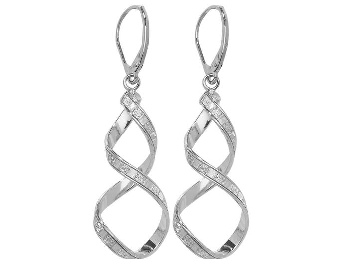 9ct White Gold Stardust Twisted Spiral Long 45mm Drop Earrings