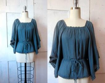 Blue Gauze Shirt - Teal - 70s Hippie Top - Lace Trim - Boho Shirt - Blouse - Wide Bell Sleeves - Drawstring Waist