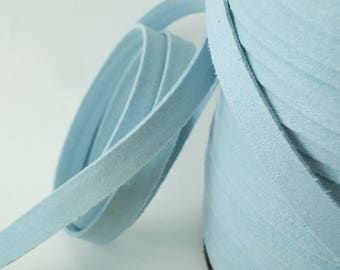 5yds Suede imitation Leather Micro Fiber Blue Jewelry Cord Light Blue Lacing faux MicroFiber  10mm x 1.5mm