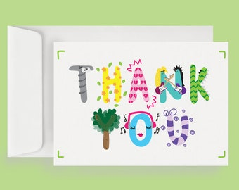 Thank You Note Card (10 Cards + Envelopes)