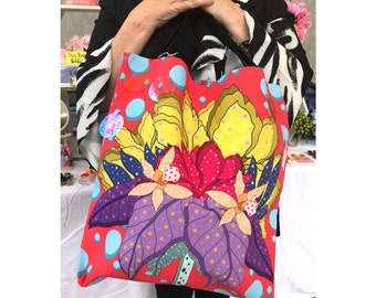 SALE // Illustrated Hand Drawn Sequin Big Red Rainbow Flower Polka Dot Tote Bag