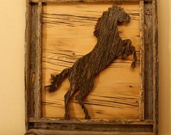 Barnwood Framed Rearing Horse