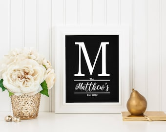 Family Name Sign, Monogram Printable, Established Date Print, Last Name Print, Initial, Chalkboard Print, Wedding Gift, Digital Download