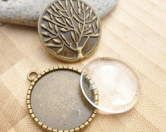 25mm Glass Dome Pendant Set - Tree of Life Cabochon Tray - Photo Pendant Tray Set - Bronze Pendant Tray - 25mm Tree of Life Bronze Cabochon