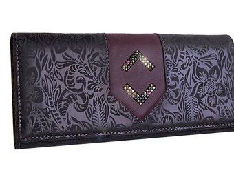 Purple floral wallet, Dark purple wallet,Beautiful purple wallet,Leather purple wallet, Purple accordion wallet, Purple long wallet, diamond