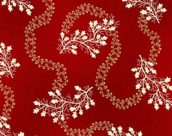By The HALF YARD - Sara's Stash by Sara Morgan for Blue Hill Fabrics, Pattern #7412-2 White Meandering Floral Vine on Red