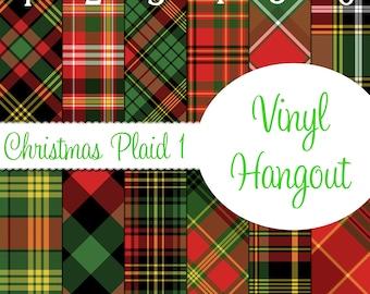 Pattern Vinyl, Christmas Plaid 1, HTV, Printed Vinyl, Adhesive Outdoor Vinyl, Heat Transfer Vinyl, Iron On, Plaid Vinyl, Red Plaid, Plaid