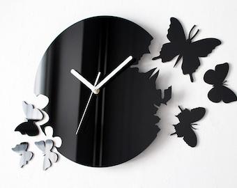 Simply Black Butterflies Clock - Modern Wall Clock