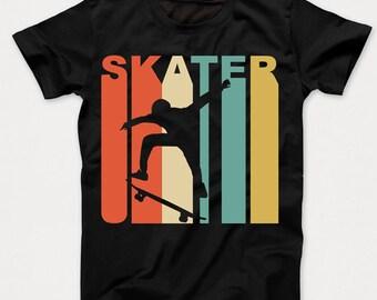 Retro 1970's Style Skater Skateboarder Skateboarding Kids T-Shirt