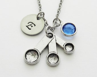 Measuring Spoons Necklace, Cooking Jewelry, Gift For Chef, Swarovski Birthstone, Personalized, Monogram, Hand Stamped, Silver Letter Initial