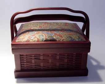 Basket Weave Wooden Sewing Box Jewelry Box Two Handles Maroon Blue Paisley Print Lid Lift Out Tray Drawer