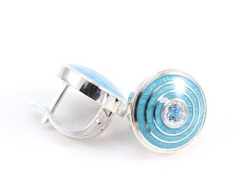 Vitreous enamel earrings silver cloisonne gemstones jewelry guilloche enamel earrings topaz jewelry hot enamel set precious stones earrings