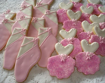 Birthday, Party Ballerina Slippers and Ballerina Outfit Decorated Sugar Cookies - 1 Dozen