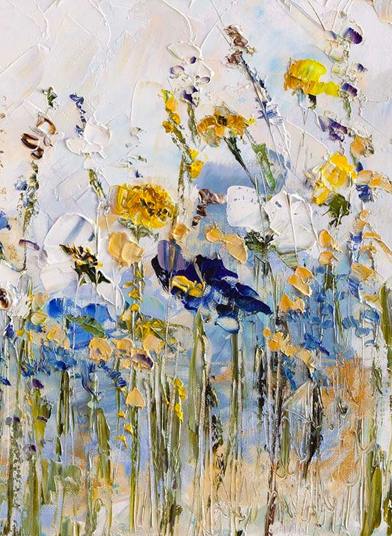 Original Oil Painting Palette Knife Blue Yellow Gray White Art
