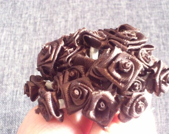 set of 48 small 1 cm Brown satin flowers