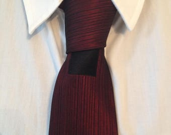 50 years, Burgundy, black, white pattern, geometric tie. fine.
