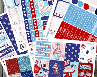 4th of July Weekly Kit, Summer Planner Sticker Kit, Independence Day Stickers, for use in Erin Condren Life Planner™