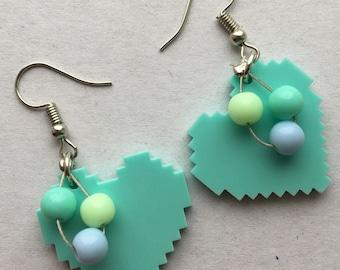 Pixel heart earrings - green heart earrings - heart bead earrings - beaded heart earrings - peppermint heart earrings - acrylic heart charms