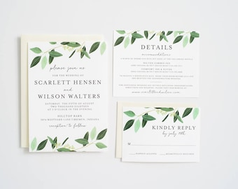 Greenery Wedding Invitation, Eucalyptus, Greenery Invite:  SCARLETT